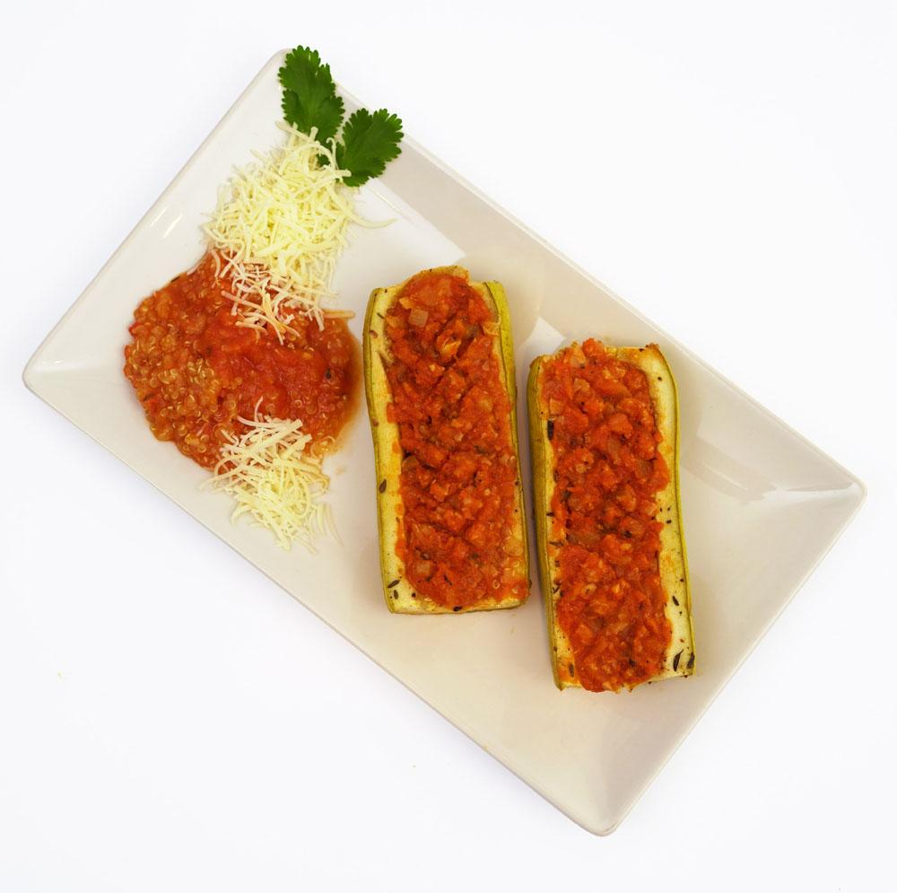 Calabacín relleno boloñesa y quinoa - Platos Preparados BERA